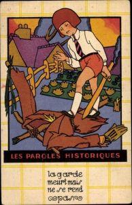 Künstler Ak Les Paroles Historiques, Vogelscheuche, Junge mit Holzschwert, Chaussures, Reklame