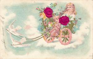 Stoff Präge Litho Tauben ziehen Kutsche, Kinder, Blumen, Kitsch