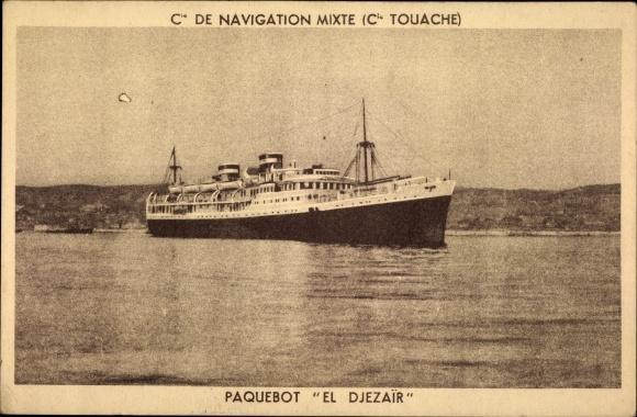 Ak Paquebot El Djezair, Compagnie de Navigation Mixte, Dampfschiff