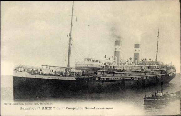 Ak Paquebot Asie, Compagnie de Navigation Sud-Atlantique, Dampfschiff