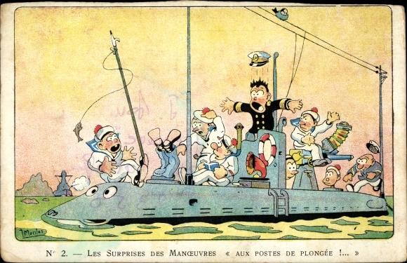 Künstler Ak Les Surprises des Manoeuvres, Aux Postes de Plongee, Französisches U-Boot, Seeleute