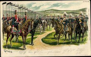 Litho Kavallerie, Parade, Fahnen, Soldaten in Uniform