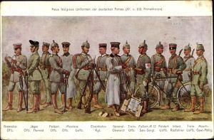 Künstler Ak Neue Uniformen der deutschen Armee, XII. und XIX. Armeekorps, Grenadier Offizier