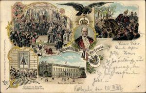 Litho Kaiser Wilhelm I., Kaiserproklamation zu Versailles 1871, Palais Kaiser Wilhelm I. in Berlin