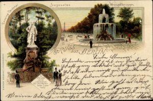 Litho Berlin Tiergarten, Wrangelbrunnen, Siegesallee, Lessing Denkmal