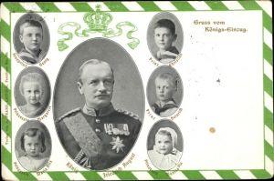 Ak König Friedrich August III. von Sachsen, Kronprinz Georg, Prinzessin Margarete, Prinzessin Maria
