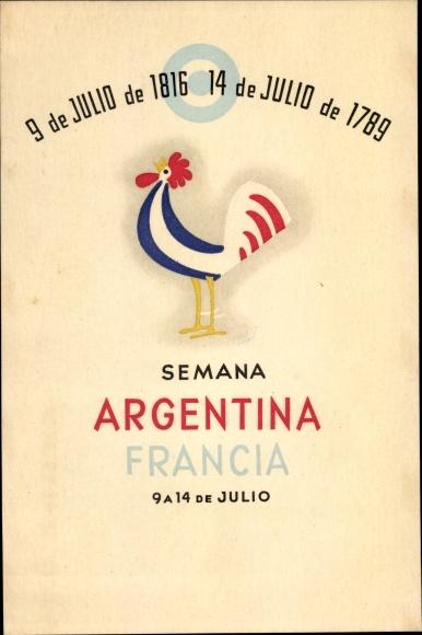 Künstler Ak Semana Argentina Francia 1947, Hahn, Argentinien, Frankreich