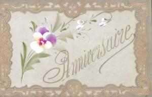 Zelluloid Ak Glückwunsch Geburtstag, Anniversaire, Stiefmütterchen