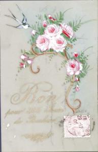 Zelluloid Ak Glückwunsch Neujahr, 365 Jours de Bonheur, Rosen, Schwalbe