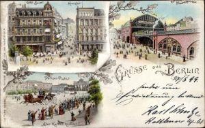 Litho Berlin, Pariser Platz, Café Bauer, Café Kranzler, Bahnhof Friedrichstraße