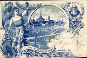 Litho Hamburg, IX. Deutsches Turnfest 1898, Halle, Turnvater Jahn, Allegorie, Jahn Kreuz