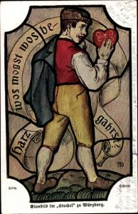 Künstler Ak Schießtl, Heinz, Würzburg am Main Unterfranken, Glasbild im Stachel
