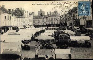 Ak Coulommiers Seine et Marne, La Place du Marché