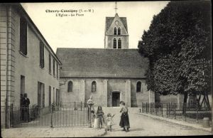 Ak Chevry Cossigny Seine et Marne, L'Église, la Place