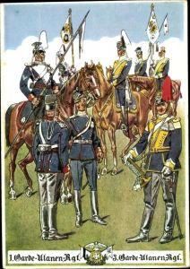 Künstler Ak Pietsch, Paul, 1. Garde Ulanen Regiment und 3. Garde Ulanen Regiment