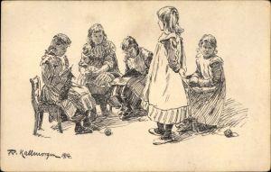Künstler Ak Kallmorgen, Friedr., Strickende Mädchen, Verein f. Kindervolksküchen u. Volkskinderhorte