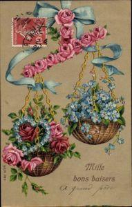 Präge Ak Mille bons baisers, Waage aus Rosen, Vergissmeinnicht, Herz