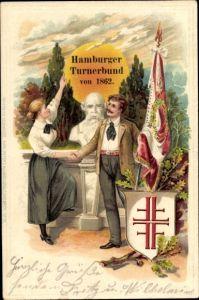 Präge Litho Hamburg, Hamburger Turnerbund von 1862, Paar an Turnvater Jahn Büste, Jahnkreuz, Flagge
