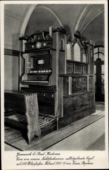 Ak Grenzeck Schlesien, Orgel mit Holzpfeifen