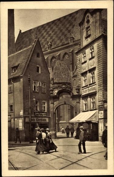 Ak Wrocław Breslau Schlesien, Ecke oder und Nikolaistraße