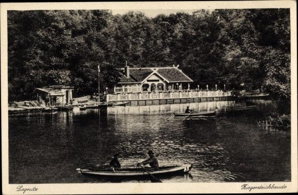 Ak Legnica Liegnitz Schlesien, Ziegenteichbaude, Ruderboote