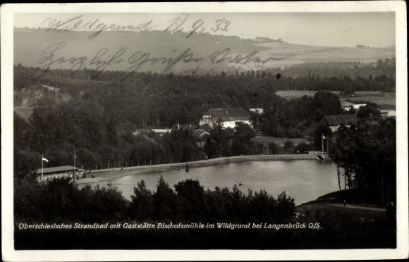Ak Langenbrück Schlesien, Strandbad mit Gaststätte Bischofsmühle