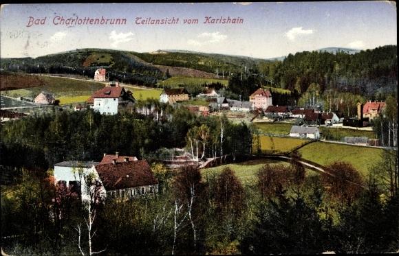 Ak Jedlina Zdrój Bad Charlottenbrunn Schlesien, Teilansicht vom Karlshain