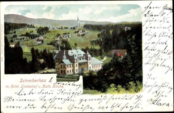 Ak Szklarska Poręba Schreiberhau Riesengebirge Schlesien, Hotel Lindenhof und kath. Kirche