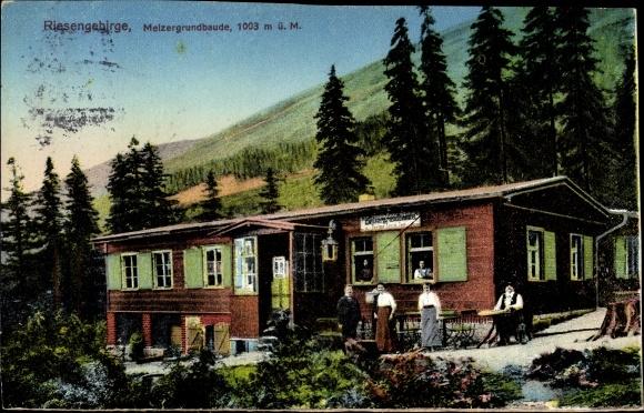 Ak Karpacz Krummhübel Riesengebirge Schlesien, Melzergrundbaude, Schronisko Nad Mała Łomniczką