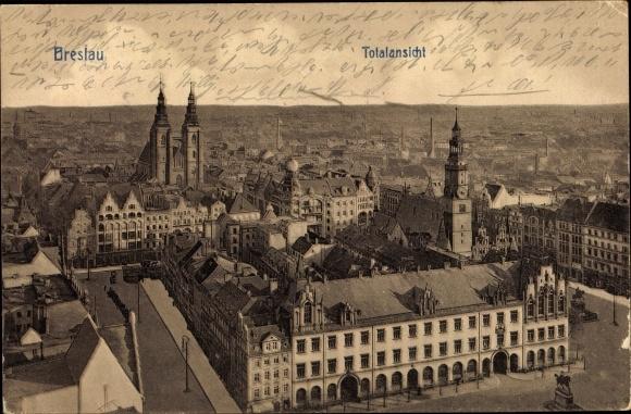 Ak Wrocław Breslau Schlesien, Totalansicht