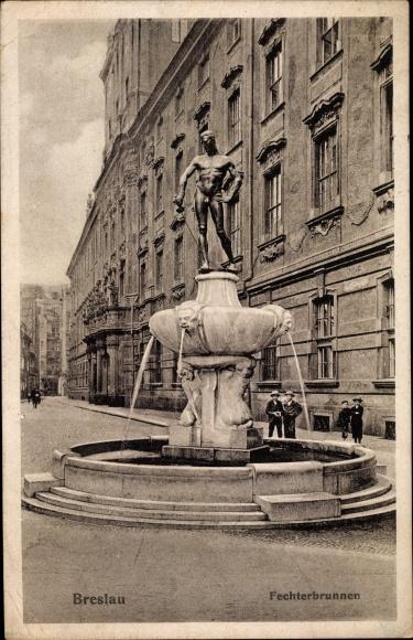 Ak Wrocław Breslau Schlesien, Fechterbrunnen