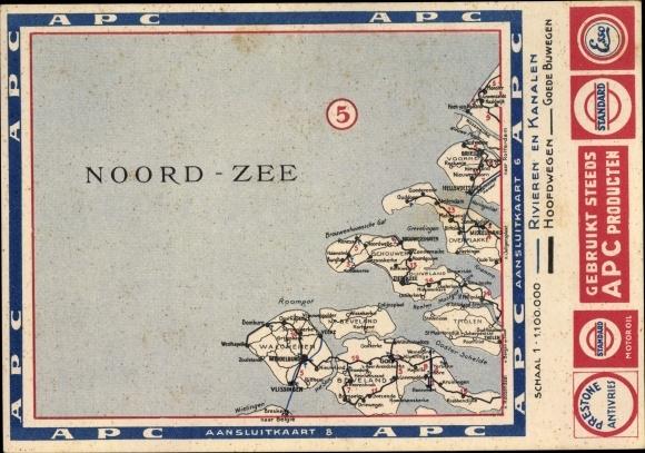 Landkarten Ak Noord Beveland Zeeland Niederlande, Rivieren en Kanalen, Hoofdwegen