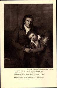 Ganzsachen Künstler Ak Schröder, G. A., Philosoph Pestalozzi und sein Enkel Gottlieb, Bundesfeier