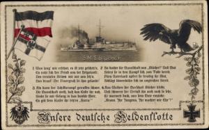 Ak Kriegsschiff SMS Blücher, Reichskriegsflagge, Reichsadler, Eisernes Kreuz