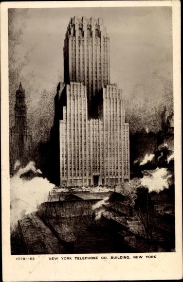 Ak New York City USA, Telephone Co. Building