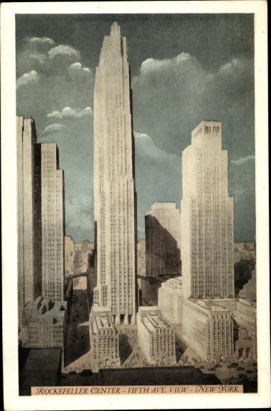 Ak New York City USA, Rockefeller Center, Fifth Avenue