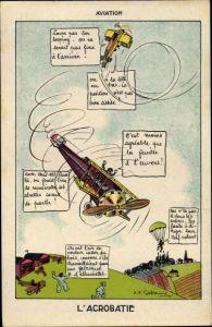 Künstler Ak Aviation, l'Acrobatie, Fallschirmspringer, Flugzeuge