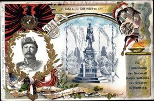 Präge Ak Hamburg, Einweihung des Denkmals Kaiser Wilhelms des Großen, Kaiser Wilhelm II.