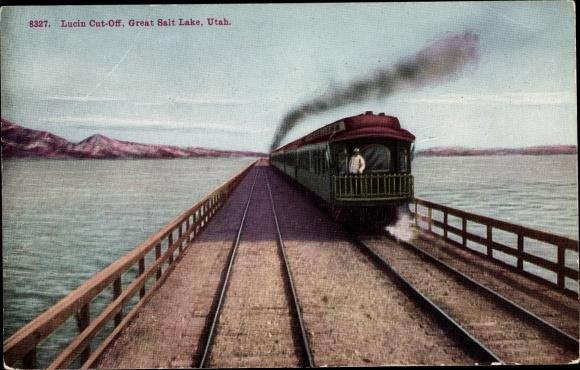 Ak Utah USA, Lucin Cut-Off, Great Salt Lake, Lok