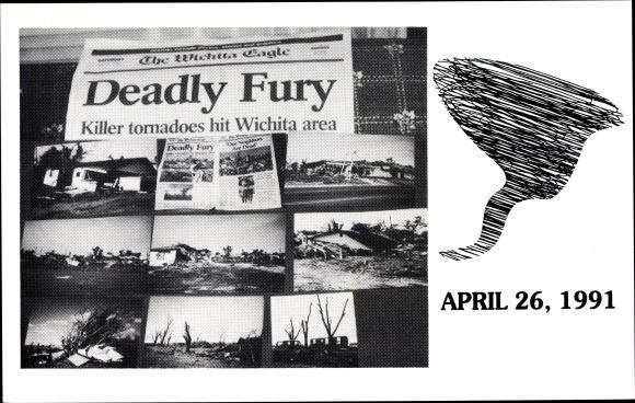 Ak Kansas City Kansas USA, Deadly Fury, Killer tornadoes hit Wichita area,Zeitungsartikel,26.04.1991