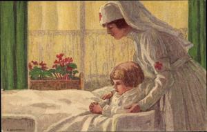 Ganzsachen Künstler Ak Schweizer Bundesfeier 1921, Rotes Kreuz, Krankenschwester, Caritas