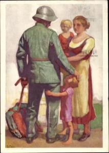 Ganzsachen Künstler Ak Hodel, E., Schweizer Bundesfeier 1929, Soldat beim Abschied