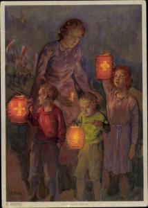 Künstler Ak Hodel, E., Schweizer Bundesfeier 1947, Kinder, Laternen, Krebsbekämpfung