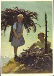 Ganzsachen Künstler Ak Landult, O., Schweizer Bundesfeier 1935, freiw. Arbeitsdienst Arbeitsloser