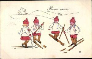Künstler Ak Glückwunsch Neujahr, Bonne année, Kinder auf Skiern, BKWI 2774-5