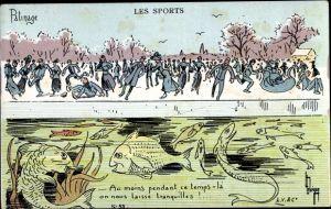 Künstler Ak Les Sports, Patinage, Eisläufer, Fische unter dem Eis