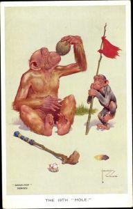 Künstler Ak Wood, Lawson, The 19th Hole, Affen, Golf, Kokosnuss