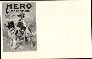 Ak Kleve in Dithmarschen, Hero Margarine, Bernhardiner, Junge, Reklame