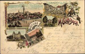 Litho Mönchengladbach in Nordrhein Westfalen, Marktplatz, Kaiserpark, Kaiserbad