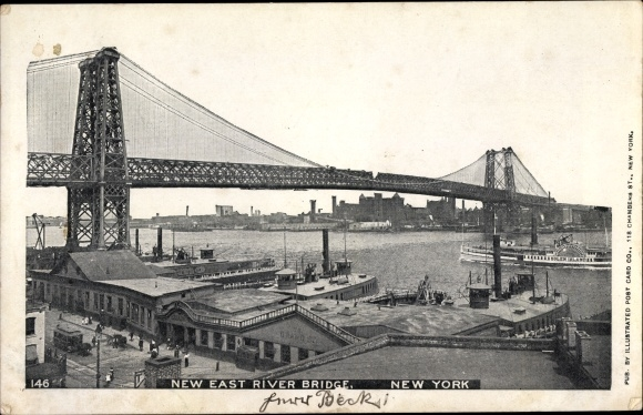 Ak New York USA, New East River Bridge